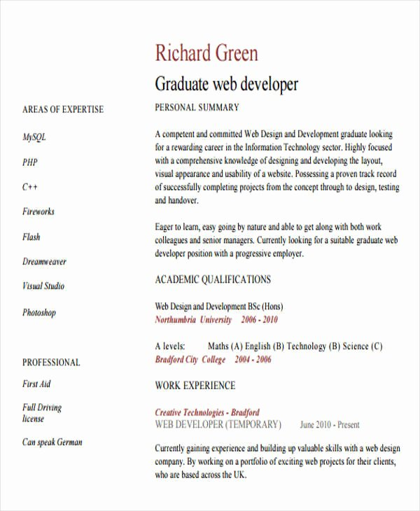 Web Developer Resume Sample Beautiful 10 Web Developer Resume Templates Pdf Doc