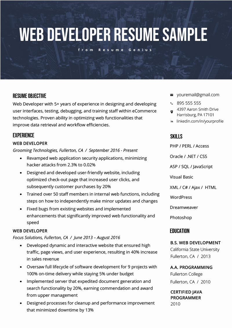 Web Developer Resume Sample Beautiful Web Developer Resume Sample & Writing Tips