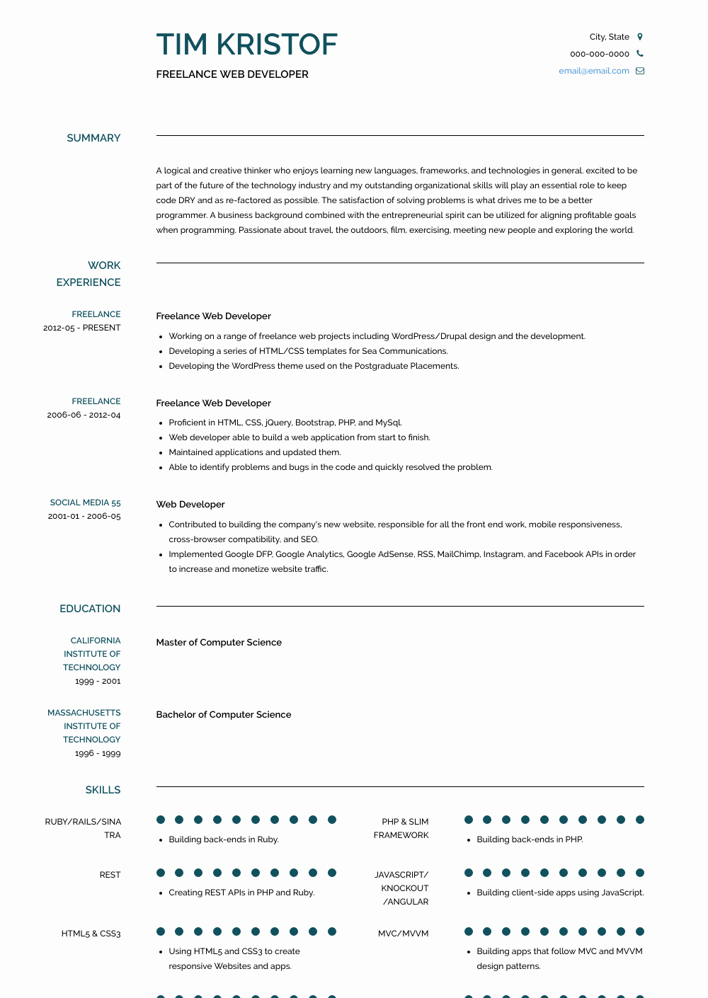 Web Developer Resume Sample Best Of Freelance Web Developer Resume Samples & Templates