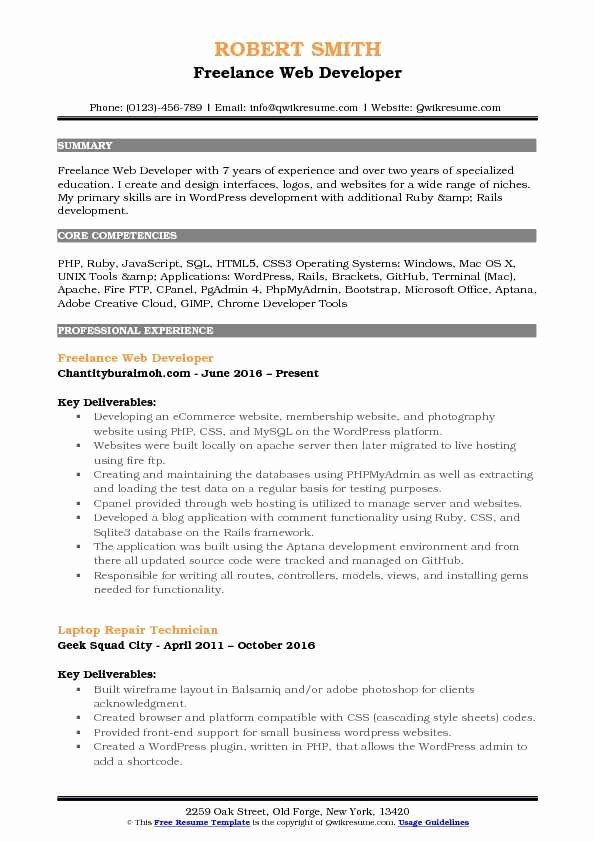 Web Developer Resume Sample Best Of Freelance Web Developer Resume Samples