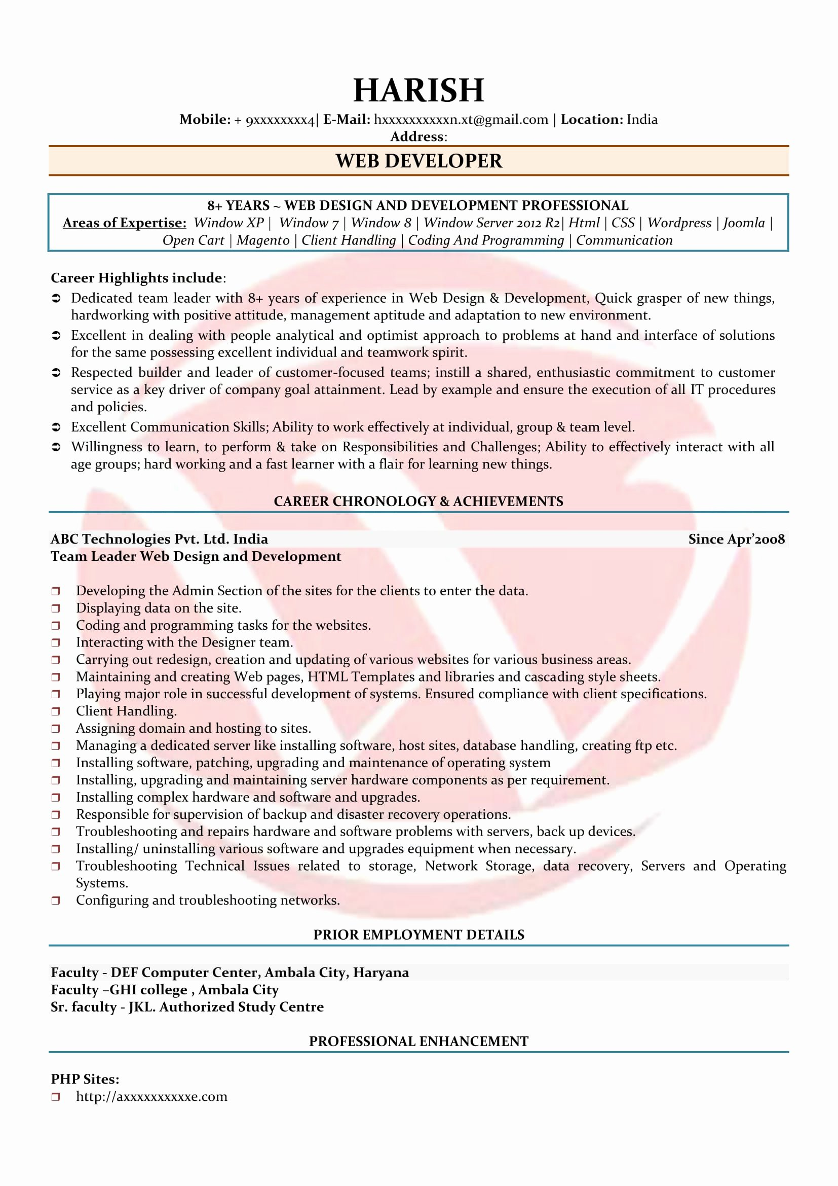 Web Developer Resume Sample Best Of Web Developer Sample Resumes Download Resume format