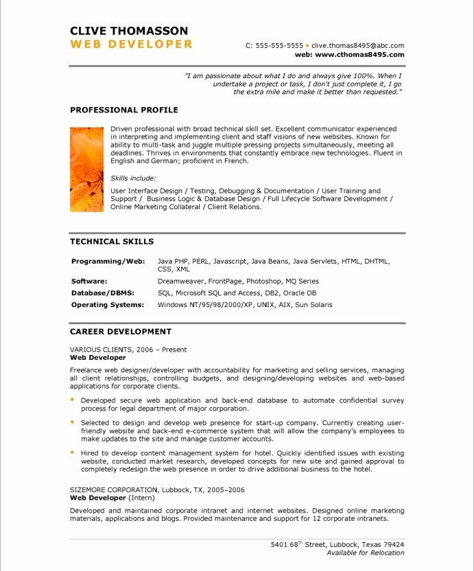 Web Developer Resume Sample Fresh Web Developer Free Resume Samples
