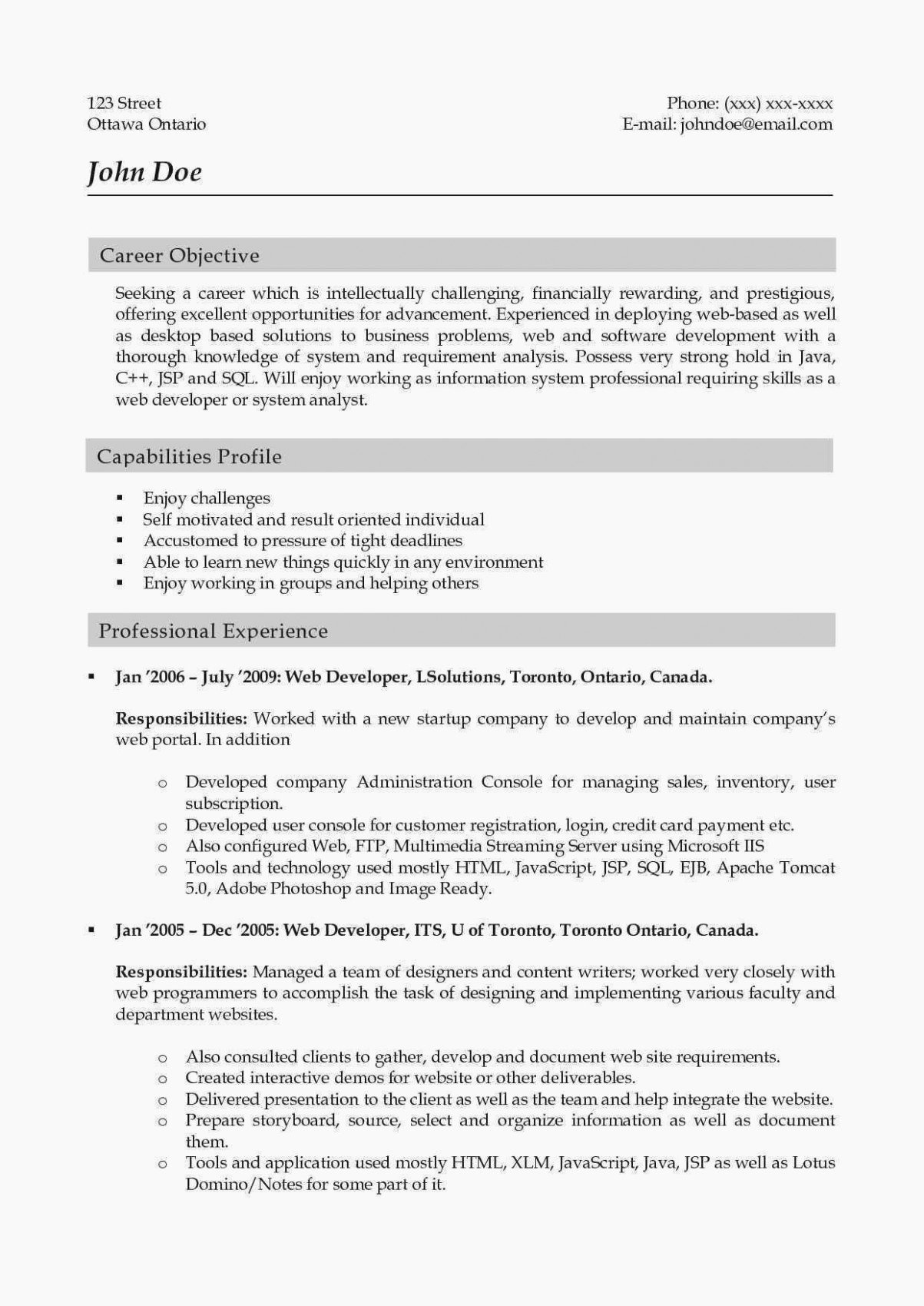 Web Developer Resume Sample Inspirational Junior Web Developer Resume