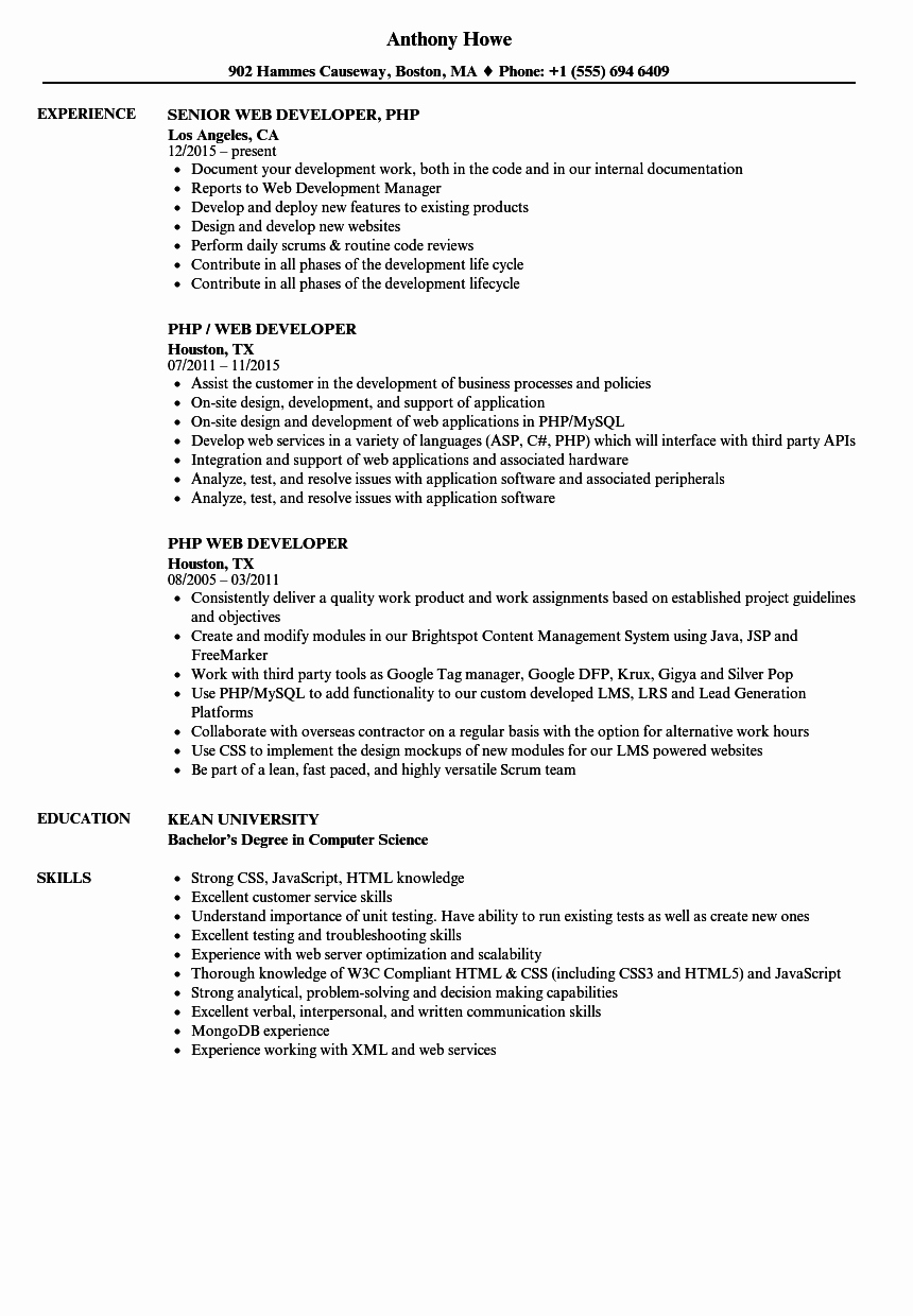 Web Developer Resume Sample Inspirational PHP Web Developer Resume Samples