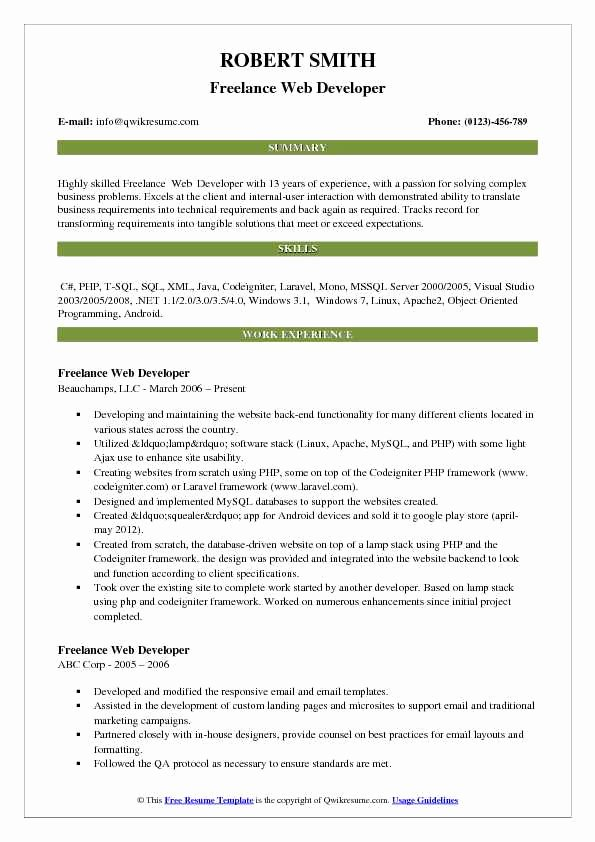 Web Developer Resume Sample Luxury Freelance Web Developer Resume Samples