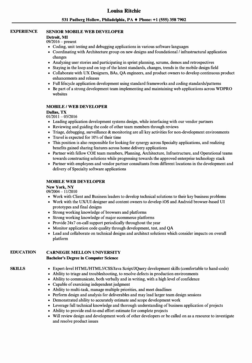 Web Developer Resume Sample Luxury Mobile Web Developer Resume Samples