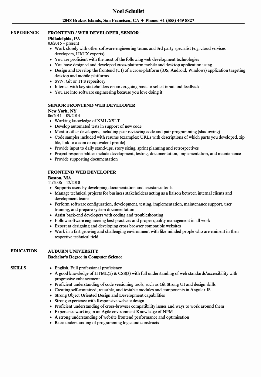 Web Developer Resume Sample New Frontend Web Developer Resume Samples
