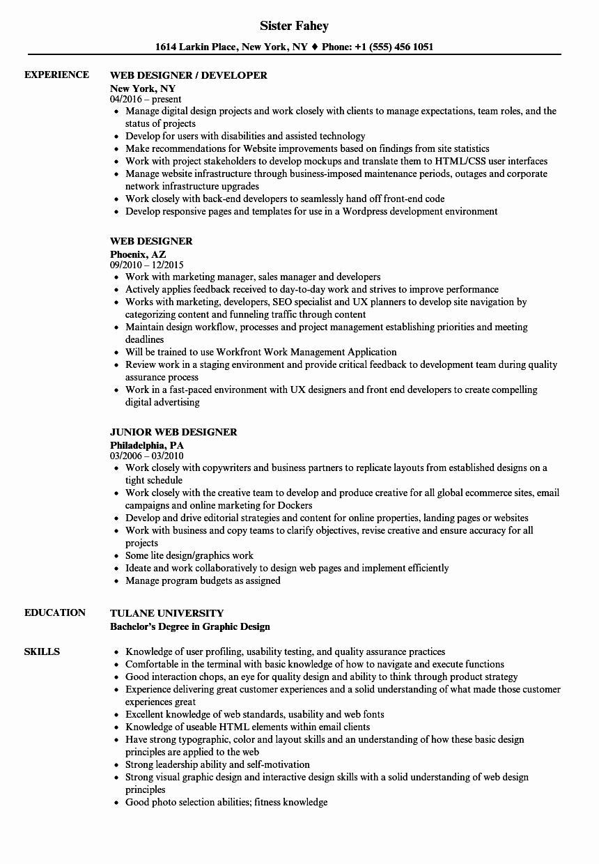 Web Developer Resume Sample Unique 10 Good Web Developer Resume