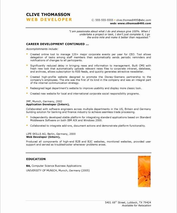 Web Developer Resume Sample Unique Web Developer Free Resume Samples
