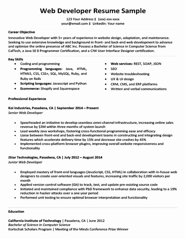 Web Developer Resume Sample Unique Web Developer Resume Sample & Writing Tips