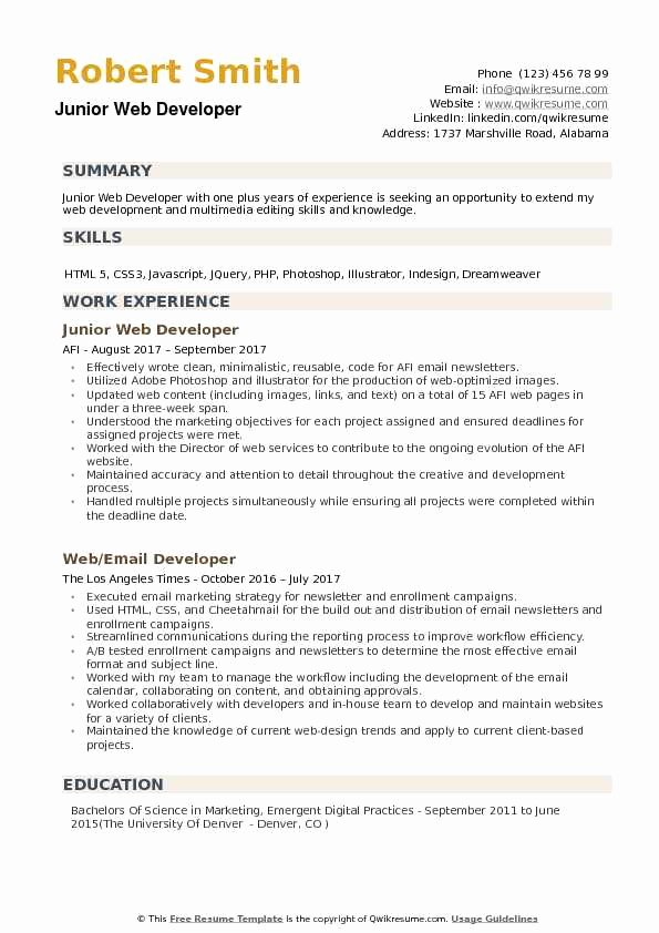 Web Developer Resume Template Awesome Junior Web Developer Resume Samples