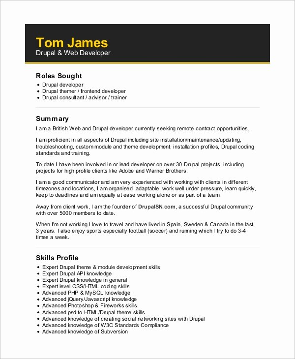 Web Developer Resume Template Beautiful Sample Web Developer Resume 10 Examples In Word Pdf
