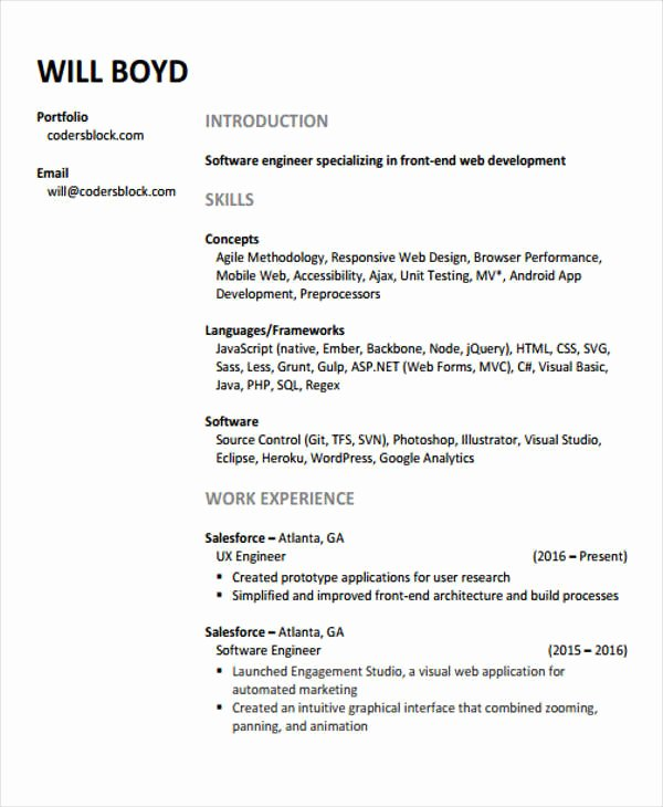Web Developer Resume Template Best Of 10 Web Developer Resume Templates Pdf Doc