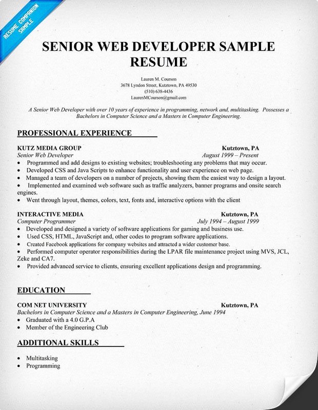 Web Developer Resume Template Best Of Resume Sample Senior Web Developer Resume Panion