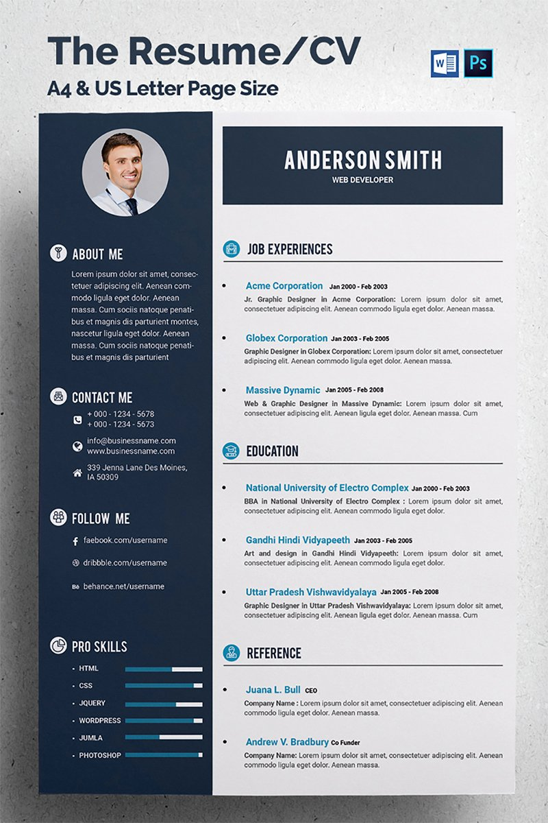 Web Developer Resume Template Elegant Web Developer Cv Resume Template