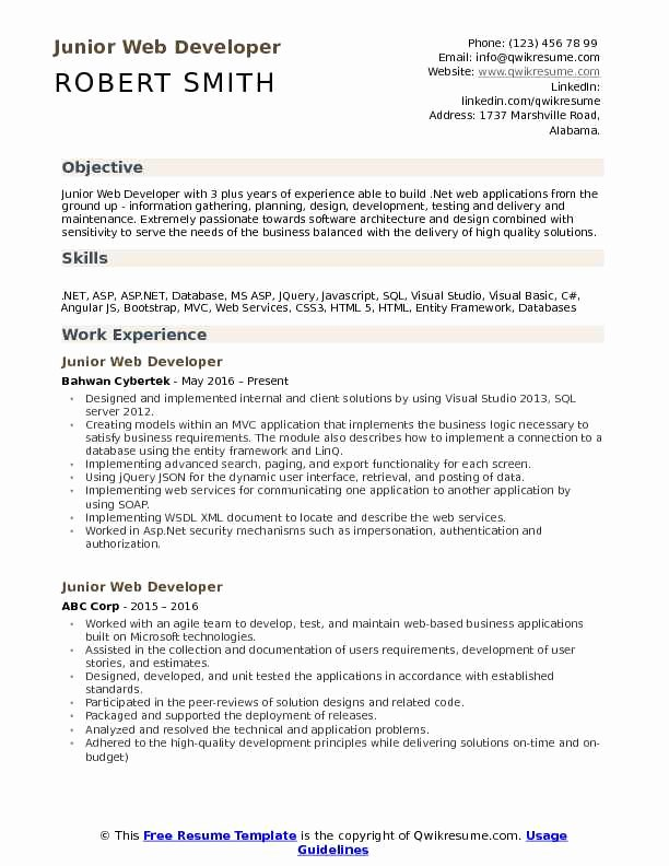 Web Developer Resume Template Fresh Junior Web Developer Resume Samples