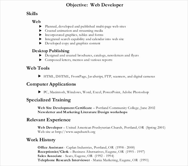 Web Developer Resume Template Luxury 10 Web Developer Resume Templates Pdf Doc