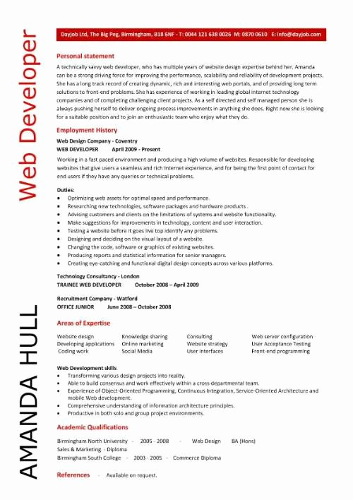 Web Developer Resume Template Luxury Web Developer Resume Examples
