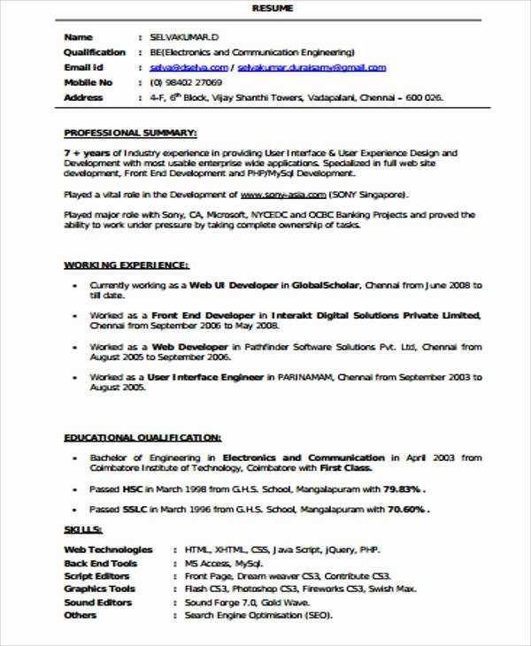 Web Developer Resume Template Unique Sample Front End Developer Resume 7 Examples In Word Pdf