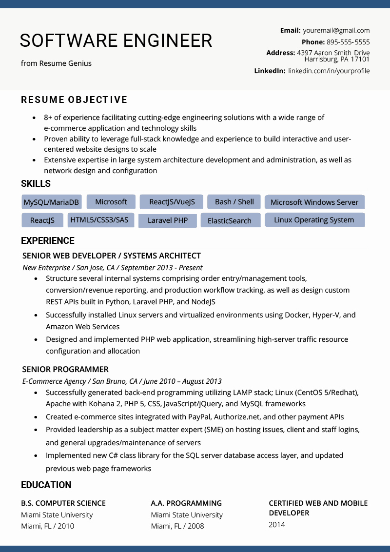 Web Developer Resume Template Unique software Engineer Resume Example & Writing Tips