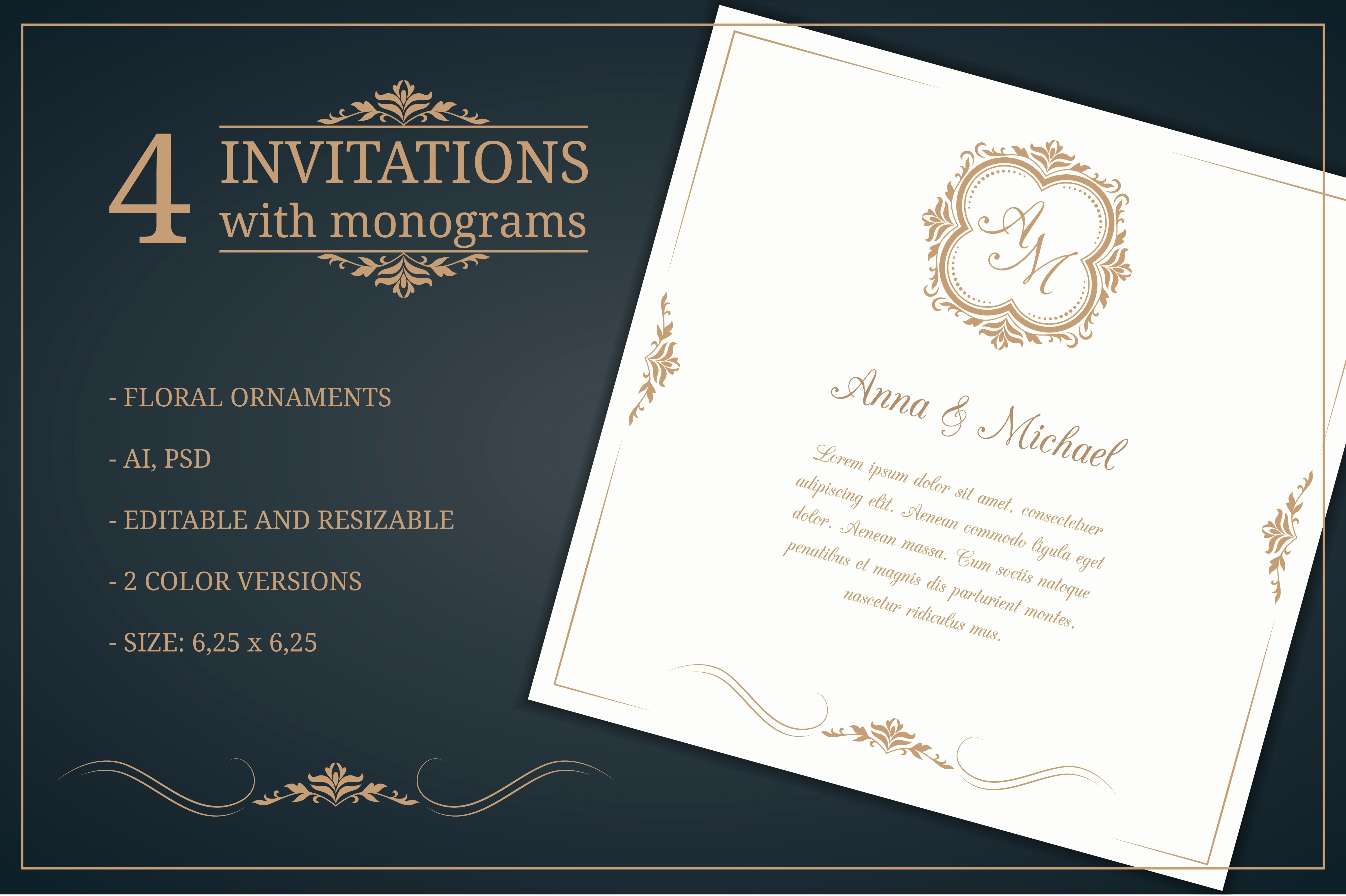 Wedding Invitation Templates Free Beautiful Wedding Invitations with Monograms Wedding Templates