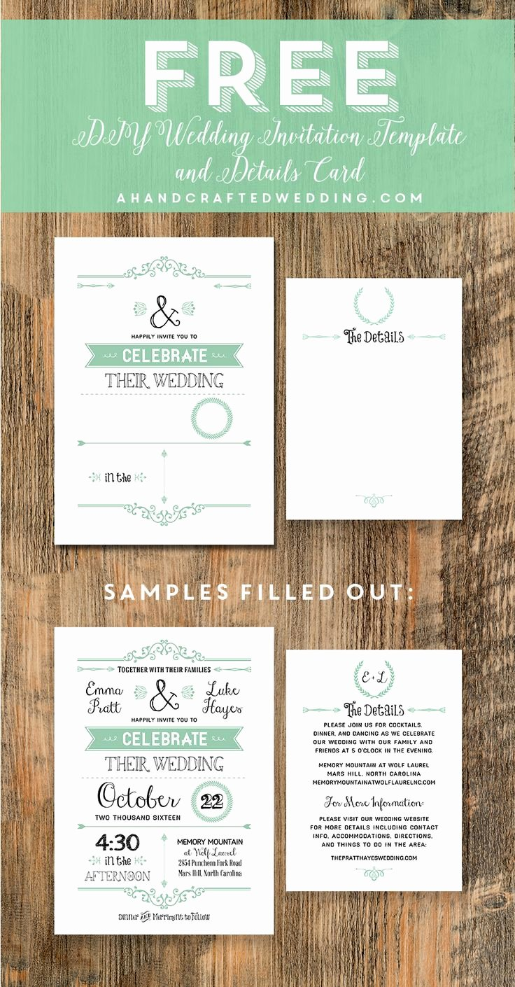 Wedding Invitation Templates Free Elegant Free Wedding Invitation Template Via Ahandcraftedwedding