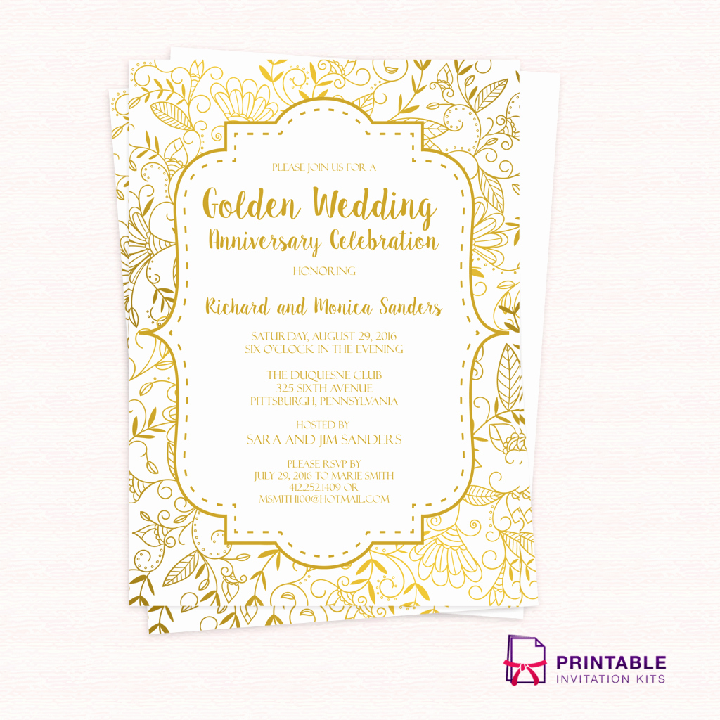 Wedding Invitation Templates Free Unique Free Pdf Template Golden Wedding Anniversary Invitation