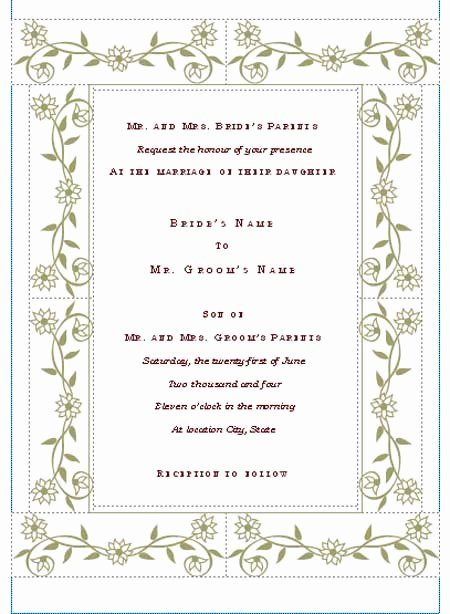 Wedding Invitation Templates Free Unique Free Printable Wedding Invitation Templates