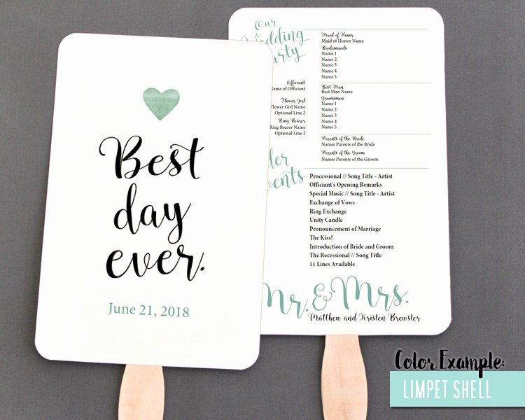 Wedding Program Fans Template Awesome Best Day Ever Wedding Program Fan Cool Colors