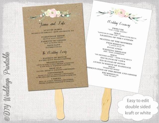 """Wedding Program Fans Template Awesome Wedding Program Fan Template """"rustic Flowers"""" Diy Kraft"""