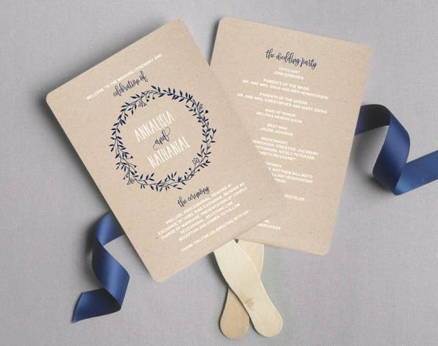 Wedding Program Fans Template Beautiful Wedding Program Fan Wedding Program Printable Navy