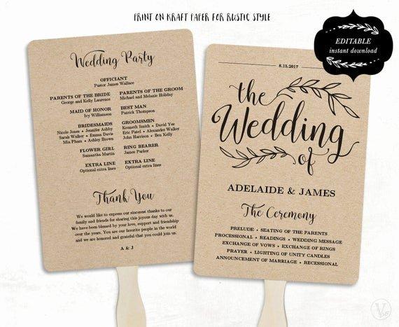 Wedding Program Fans Template Best Of Printable Wedding Program Template Fan Wedding by Vinewedding