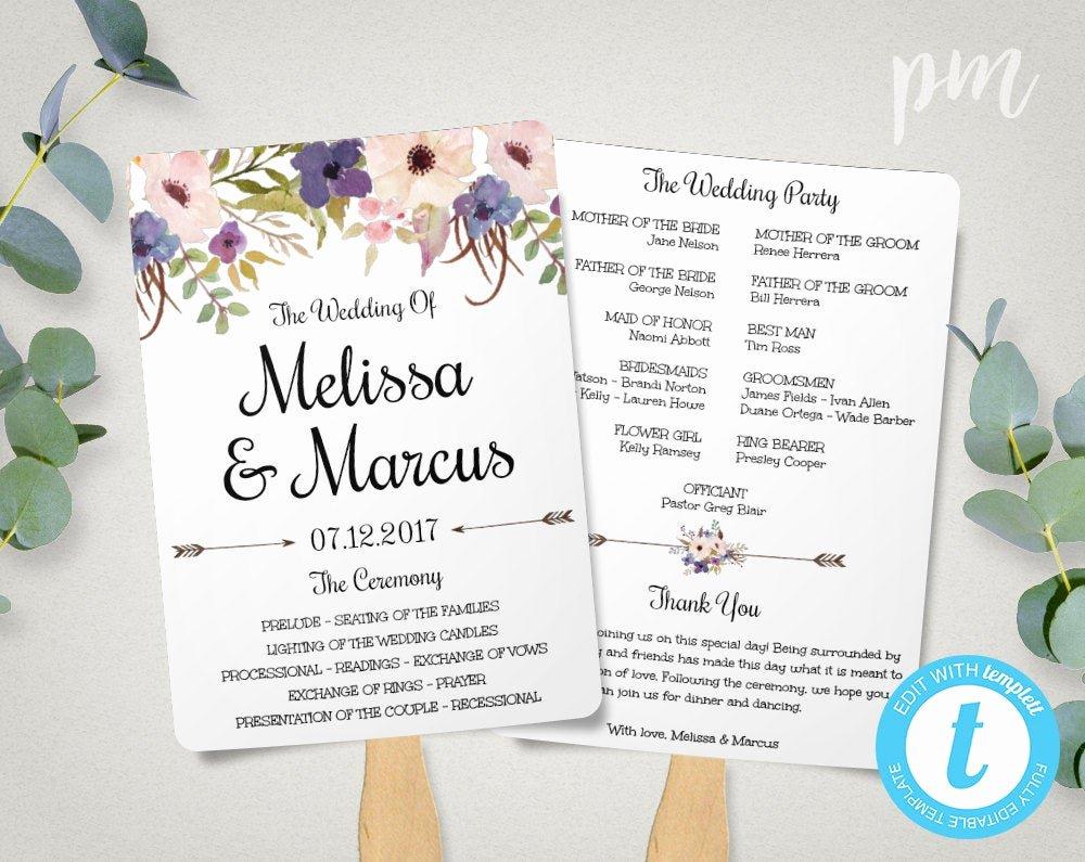 Wedding Program Fans Template Elegant Lavender Wedding Program Fan Template Watercolor Flowers
