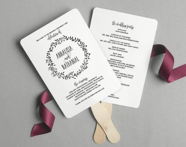 Wedding Program Fans Template Elegant Wedding Program Fan Wedding Program Printable Rustic