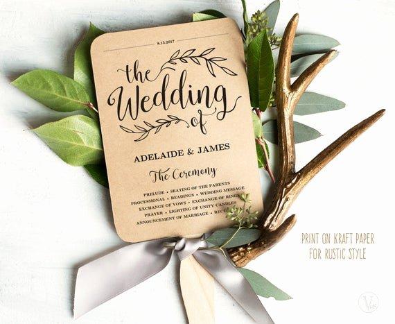 Wedding Program Fans Template Fresh Printable Wedding Program Template Rustic Wedding Fan