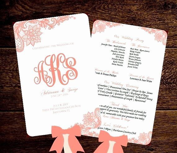 Wedding Program Fans Template Fresh Wedding Fan Program Template Printable Coral by