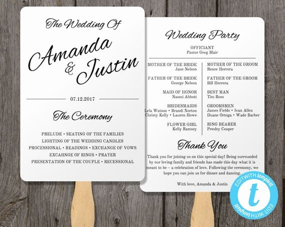 Wedding Program Fans Template Inspirational Printable Wedding Program Fan Template Fan Wedding by