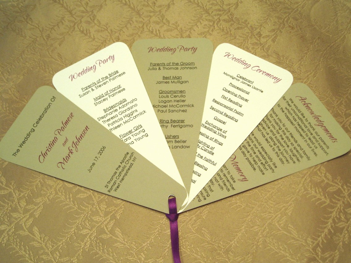 Wedding Program Fans Template Lovely Jany Claire Favors and Fans