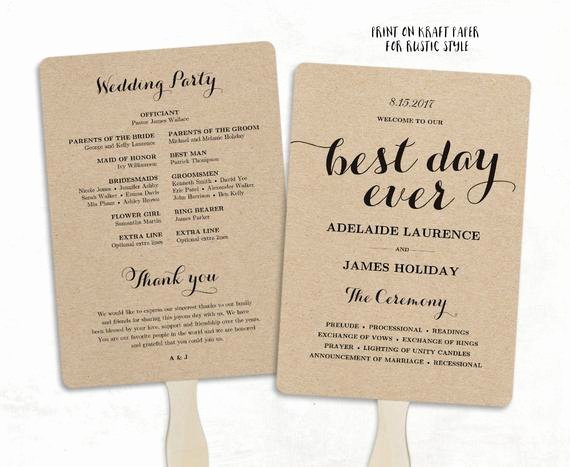 Wedding Program Fans Template New Printable Wedding Program Template Fan Wedding Program Diy