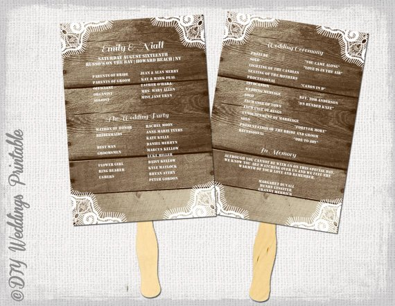 Wedding Program Fans Template New Rustic Wedding Program Template Fan Wedding Programs