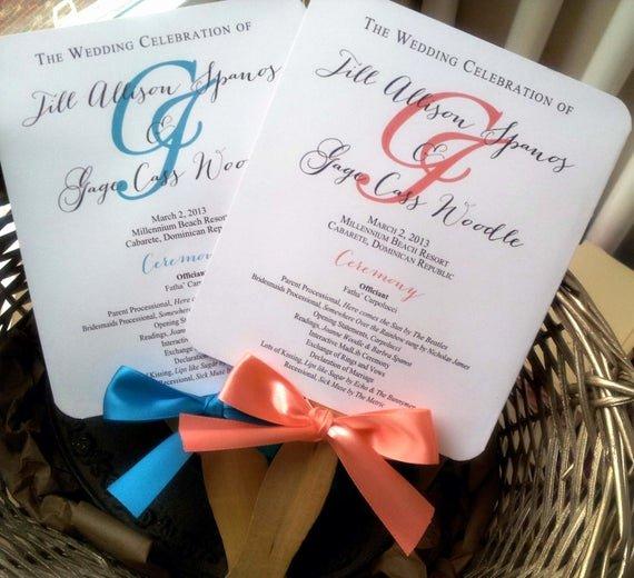 Wedding Program Fans Template Unique Turquoise Wedding Program Fans Pick Two by Pinkorchidinvites