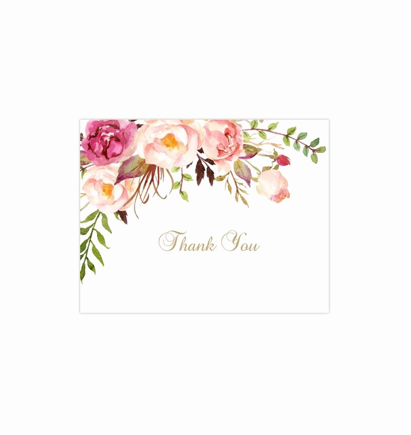 Wedding Thank You Card Template Awesome Printable Wedding Thank You Card Romantic Blossoms