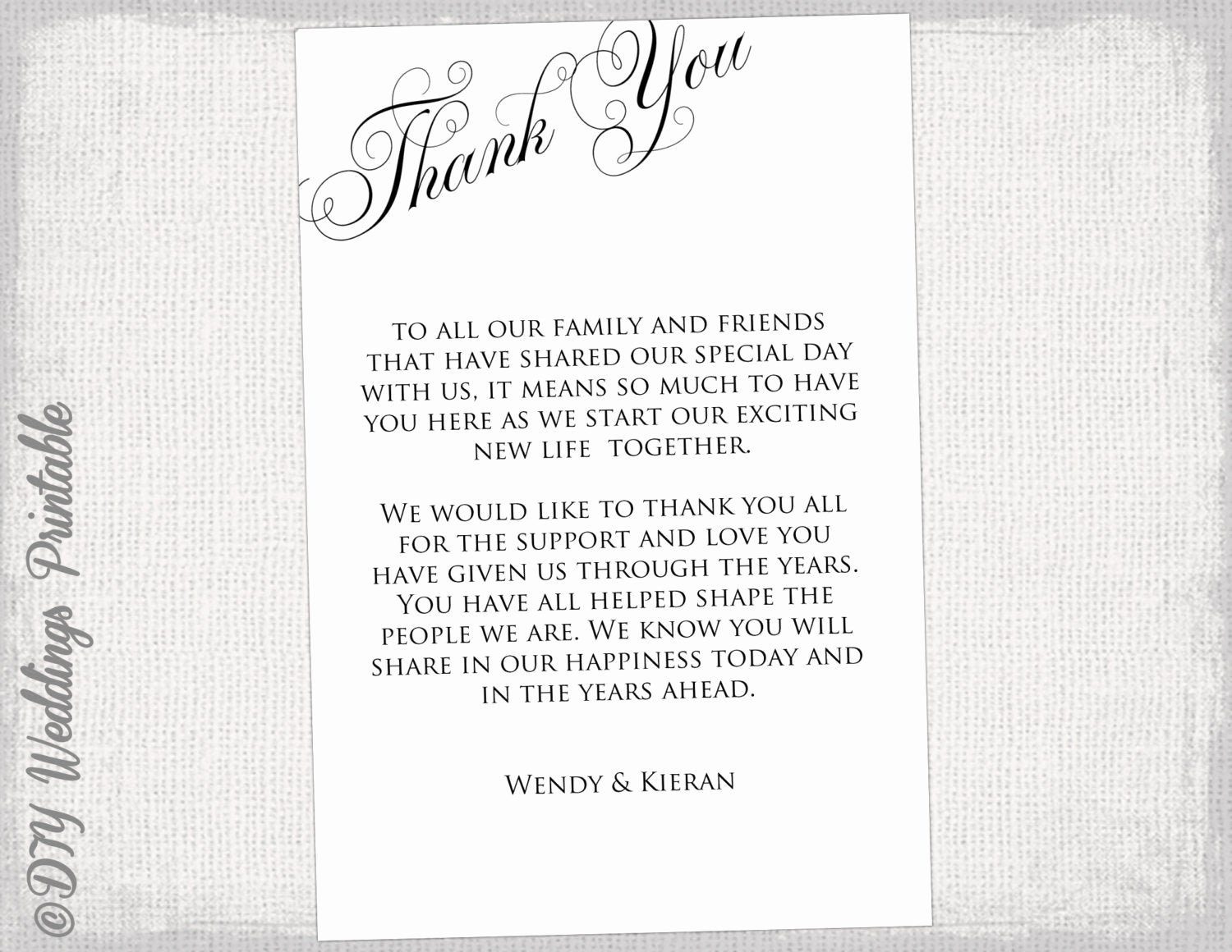 Wedding Thank You Card Template Best Of Printable Thank You Card Template Black & White Wedding Thank