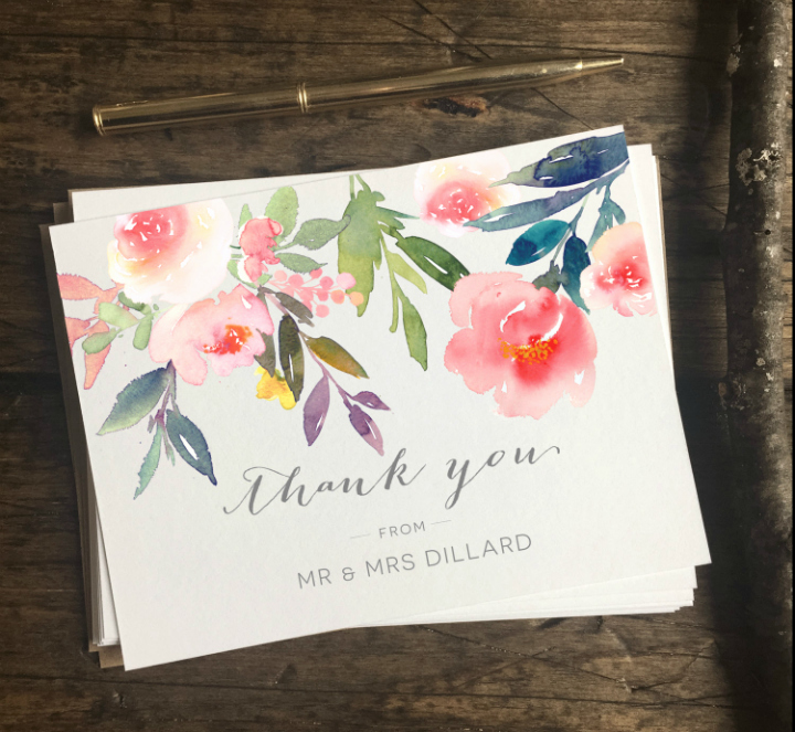 Wedding Thank You Card Template Elegant 15 Cool Wedding Thank You Card Designs & Templates Psd