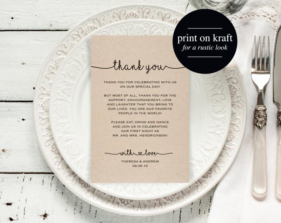 Wedding Thank You Card Template Elegant top Thank You Cards for Wedding Reception Tables Pu34