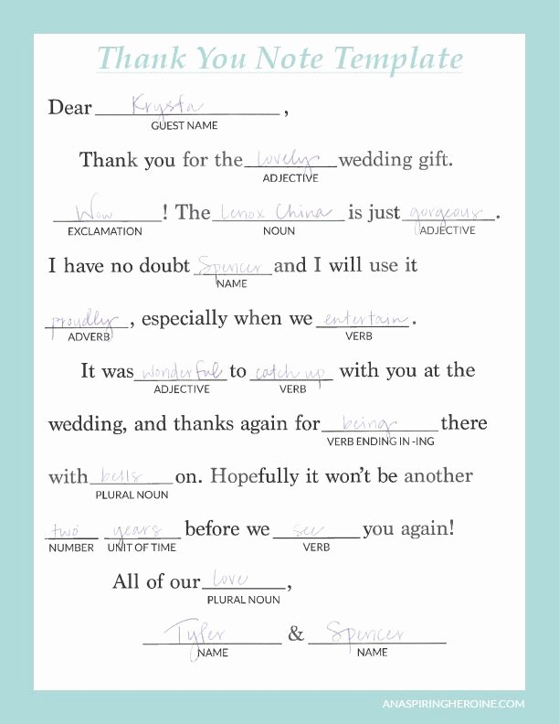 Wedding Thank You Card Template Elegant Writing Personalized Wedding Thank You Notes