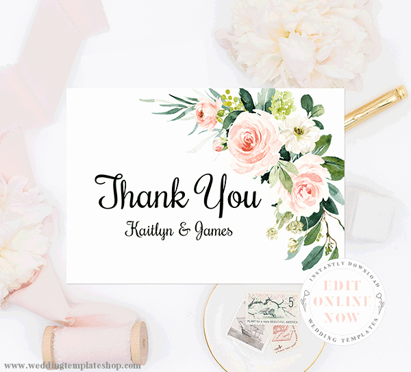 Wedding Thank You Card Template Inspirational Wedding Thank You Cards Blush Florals Edit Line