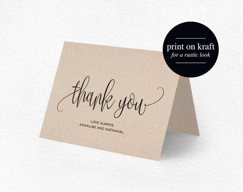 Wedding Thank You Card Template Lovely Thank You Card Wedding Thank You Thank You Card Template