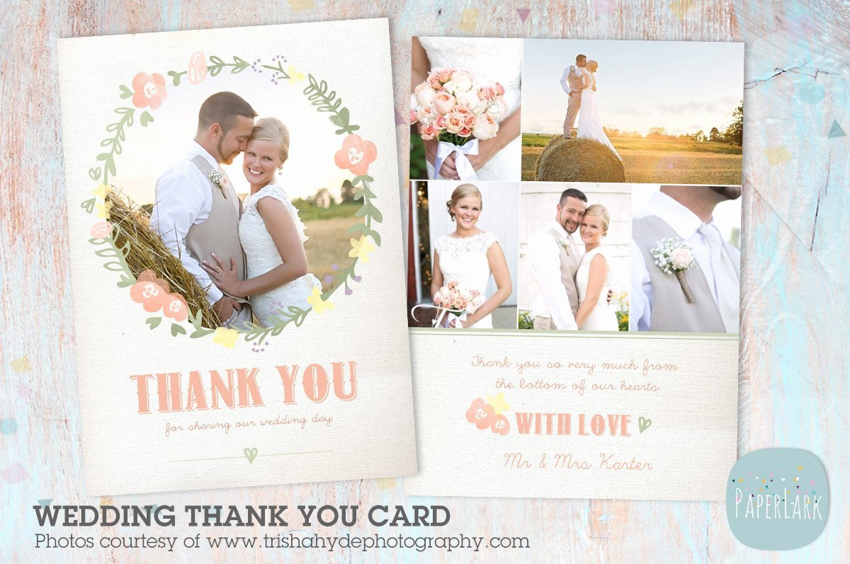 Wedding Thank You Card Template Luxury Aw014 Wedding Thank You Card Postcard Templates