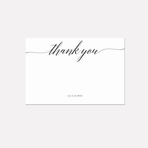 Wedding Thank You Card Template Luxury Printable Thank You Card Template Whimsical Calligraphy Thank